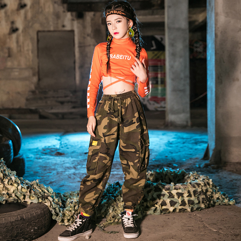 New Hip Hop Dance Costumes For Kids Modern Street Dance Stage Performance Clothes Boys And Girls Jazz Dance Orange Tops VO450