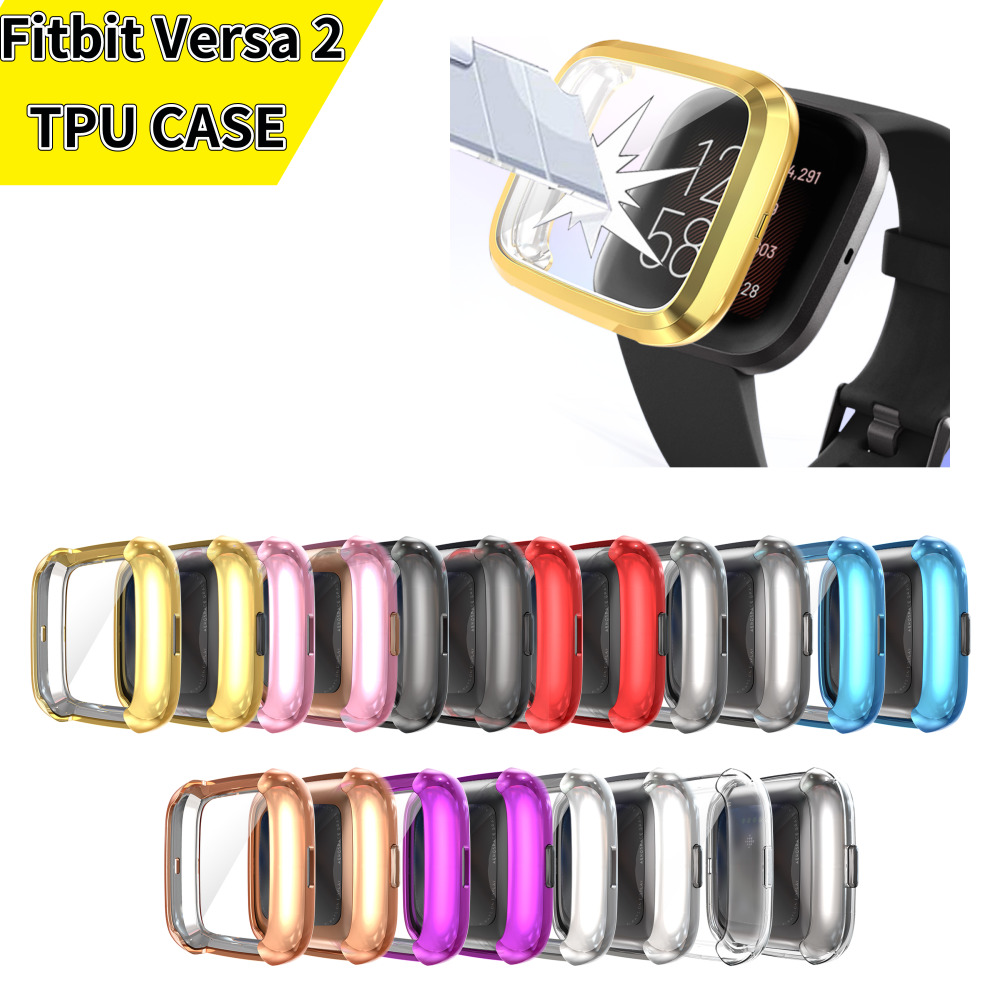 New 13 Color Soft Tpu Case For Fitbit Versa 2 Band Waterproof Watch Shell Cover Screen Protector For Fitbit Versa 2 Smart Watch