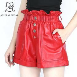 Lente vrouwen Schapenvacht lederen broek zwart rood eenvoudige kant elastische taille zak korte feminino Sexy losse hot shorts