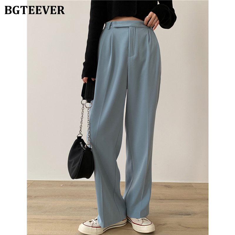 BGTEEVER Casual Loose Women Suit Pants Pockets Full-length Straight Pants Female Elegant Women Trousers Pantalon Femme 2020
