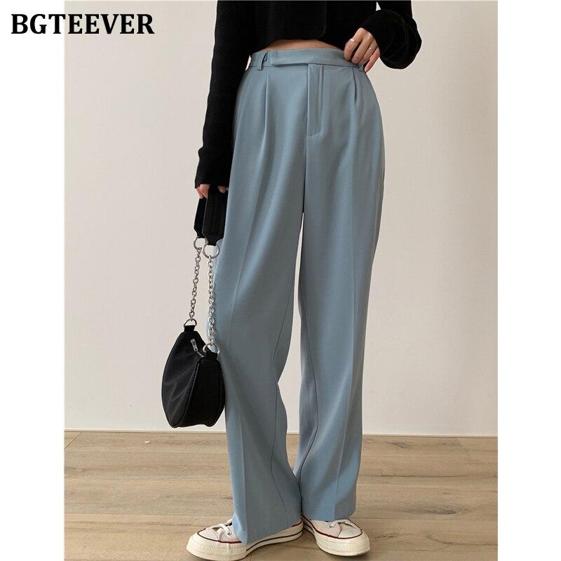 BGTEEVER Casual Loose Women Suit Pants Pockets Full-length Straight Pants Female Elegant Women Trousers Pantalon Femme 2020
