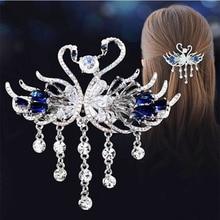 Crystal Swan Decor Hair Top Clip Hair Decor Bridal Hair Accessories Crystal Hair Antique Tassel Hair Clips Accessories Jewelry