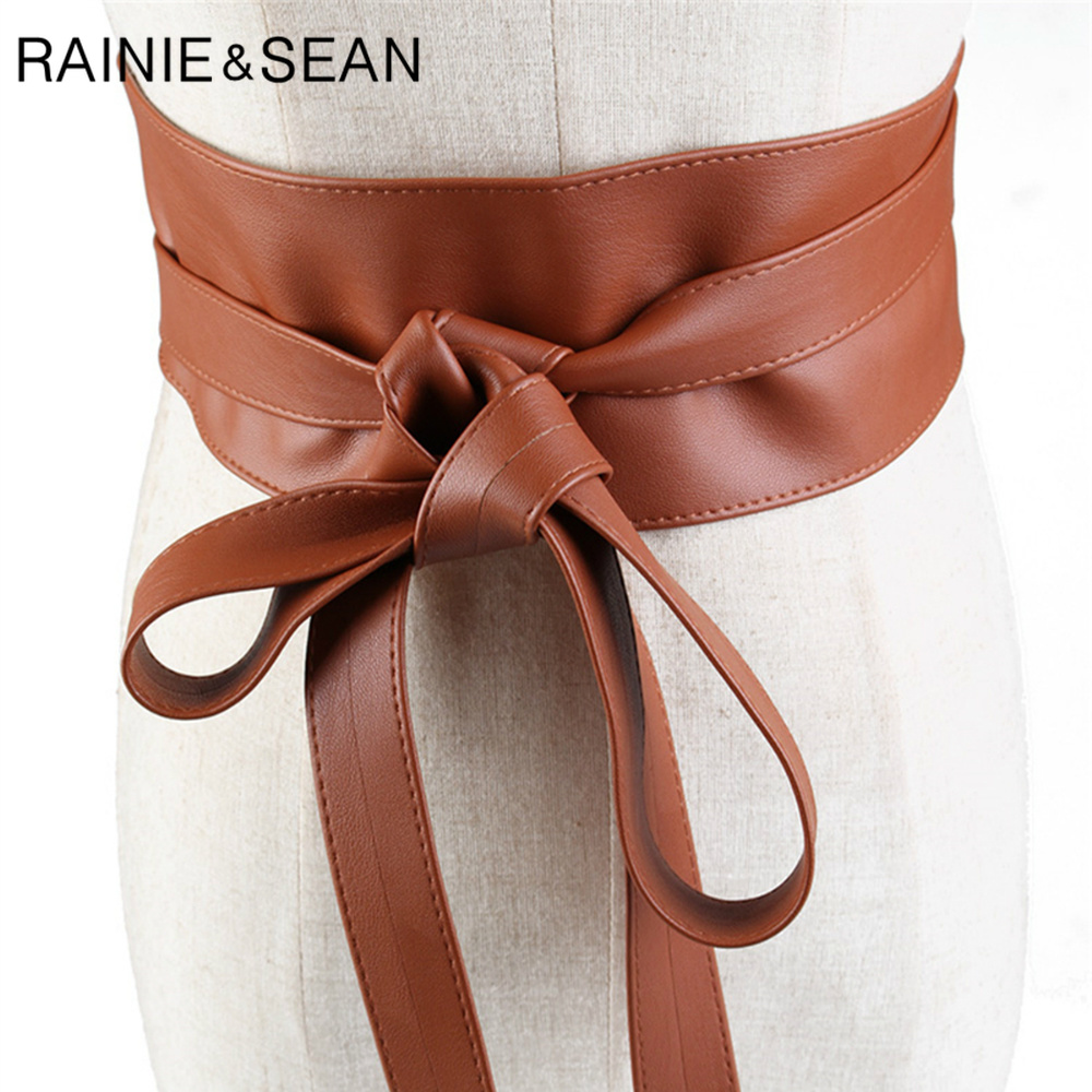 RAINIE SEAN Cummerbund Extra Wide Belt For Women Corset Waist Belt Self-tie Bow Camel Gold Silver Black Ladies Belts For Dresses