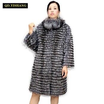 Réel fourrure de renard argenté femelle long manteau, naturel silver fox faisant style stand col manteau 2019 QD. YISHANG
