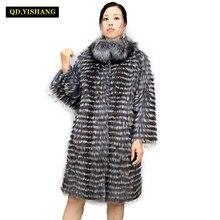 الفضة الحقيقية الثعلب الفراء الإناث طويل معطف ، الطبيعي الفضة الثعلب صنع أنيق الوقوف طوق معطف 2019 QD. YISHANG