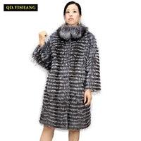 Real silver fox fur coat,natural fox fur coat women fur coat fox, Wool knit liner,stylish stand collar 2019 QD.YISHANG