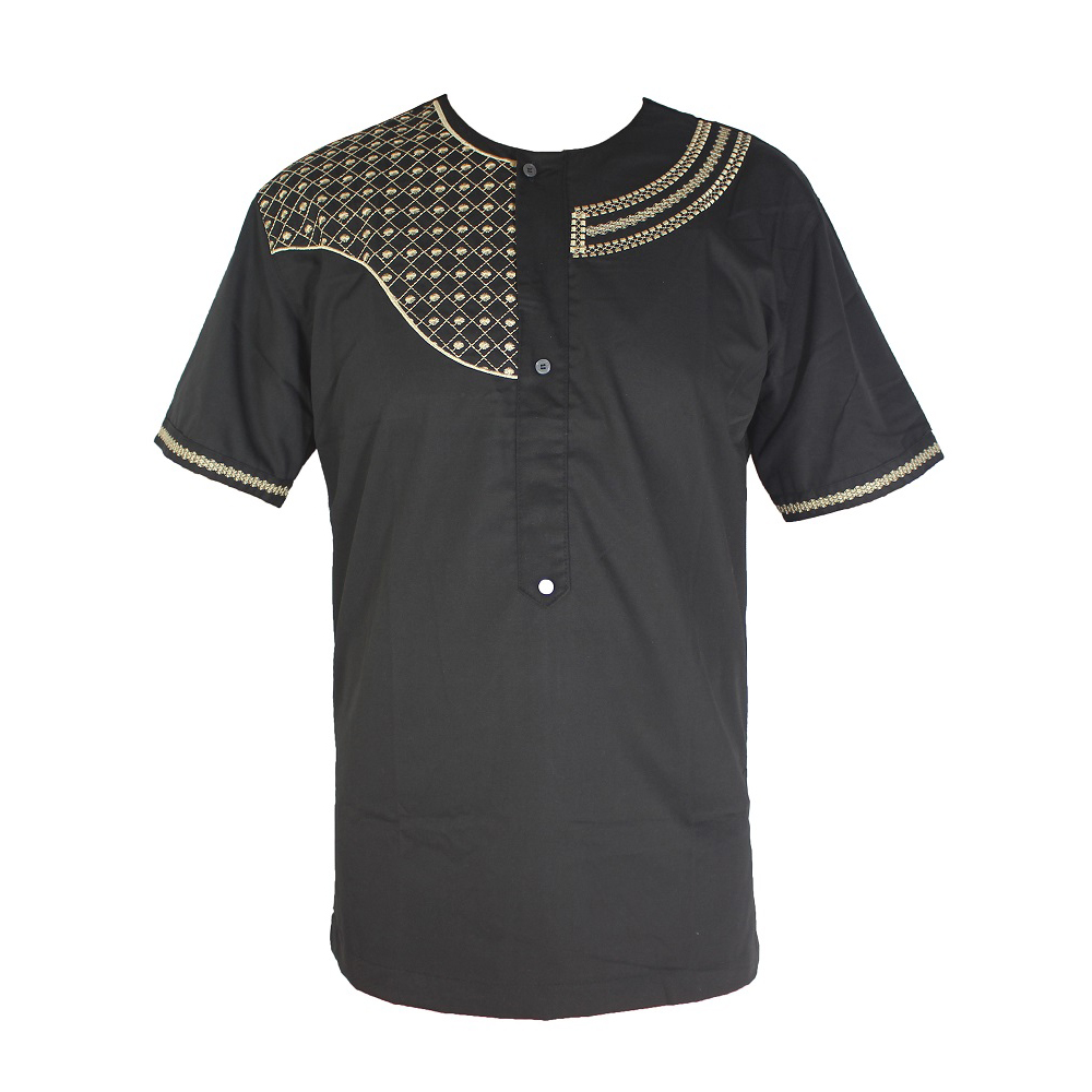 рубашка мужская Arabic Ethnic Clothes Bazin Embroidery Men`s Islamic Tops Short Kaftan Tunic Muslim T-shirt индийская одежда