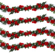 4Pcs Artificial Rose Vines ,Fake Silk Flowers Rose Garlands Hanging Rose Ivy Plants for Wedding Home Office Arch Arrangement Dec(China)