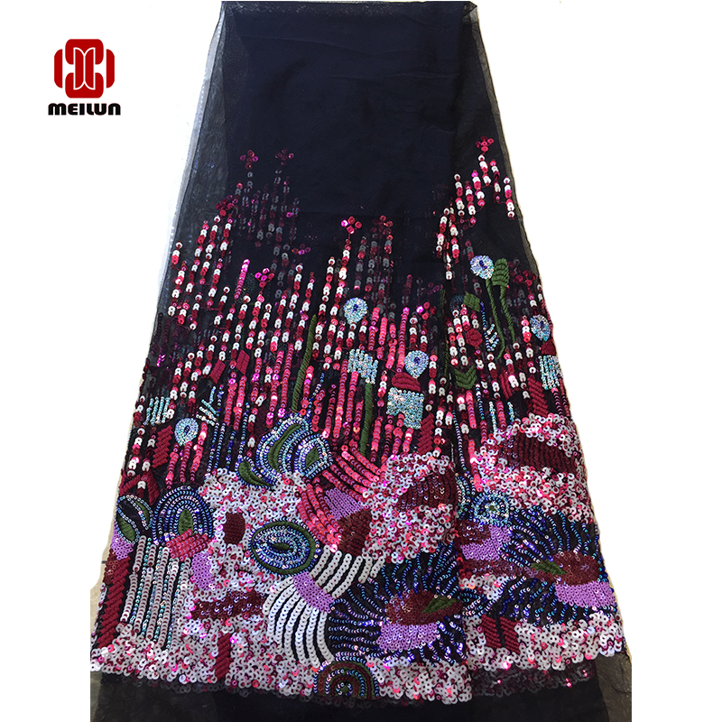 New African Print Luxury Latest Sequins Beads Tecnologia Fabric Top Grade Wedding Gown Dress Quality Lace Fabric Off Embroidery