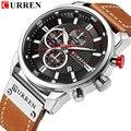 Новые часы для мужчин, люксовый бренд CURREN, хронограф, мужские спортивные часы, высокое качество, кожаный ремешок, кварцевые наручные часы, ...