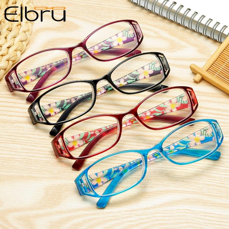 Elbru Anti Blue Light Reading Glasses Floral Printed Women Men Computer Protection Fashion Glasses +1.0 1.5 2.5 3.0 3.5