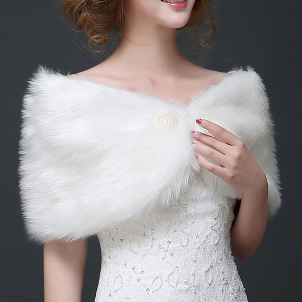 Fur Bride Wraps For Wedding Dress 2020 Autumn Shawl Wedding Cheongsam Coat A Button Bridesmaid Dress Cloak Keep Warm In Winter