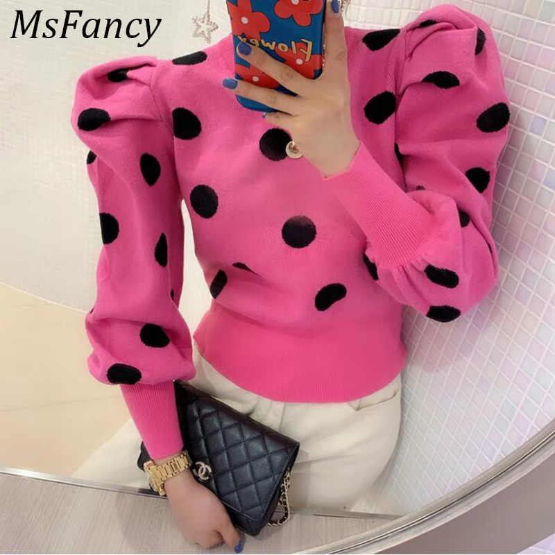 2020 Spring Puff Sleeve Crop Tops Women Vintage Shrugs Dot  Knitting Sweater Western Style Elegant  Pullover Tops