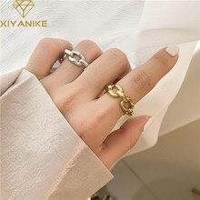 XIYANIKE-Anillos huecos de cadena gruesa para mujer, de Plata de Ley 925, diseño único, sencillo, Retro, pareja, regalos de joyería artesanal