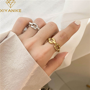 XIYANIKE 925 Sterling Silver Thick Chain Hollow Rings Female Exquisite Unique Design Simple Retro Couple Handmade Jewelry Gifts