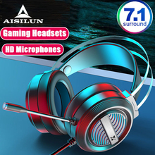 7 1 Stereo Gaming Headsets Wired Over-Head Gamer Headphone With Microphone Volume Control Game Earphones For PC Laptop Xbox cheap Erilles Dynamic CN(Origin) None For Internet Bar for Video Game Common Headphone For Mobile Phone HiFi Headphone Line Type