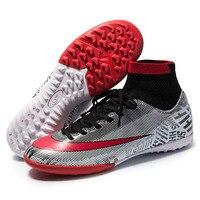 Relvado indoor sapatos de futebol dos homens alta tornozelo sapatos de futebol superfly chuteiras de futebol sapatos meninos crianças tênis de treinamento|Sapatos de futebol| |  -