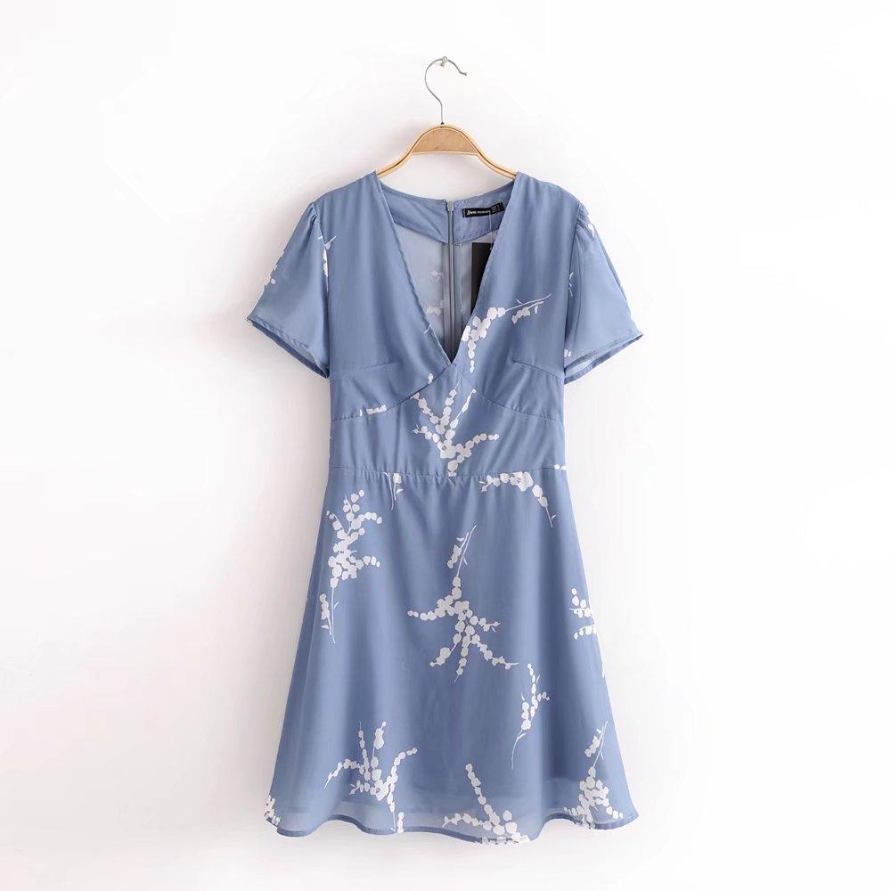 2018 Spring And Summer Western Style Slim Fit Short Sleeve V-neck Light Blue Bai Sakura Midi-skirt Women's Slimming Dress 9264