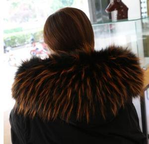 Image 2 - 秋の冬の女性のアライグマの毛皮の襟キツネの毛皮マフラースカーフ襟フェイクフード付き毛皮ケープパシュミナ
