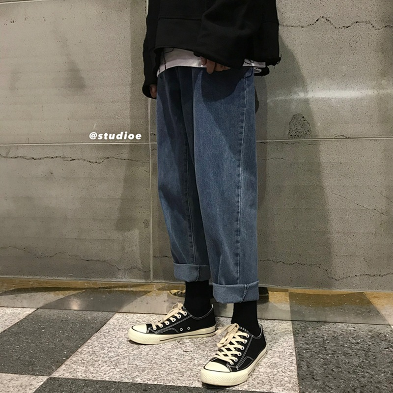 Hong Kong Flavor Retro Loose Jeans Popular Brand Korean-style Trend Loose Pants New Style Daily Life Versatile Straight-Cut Capr