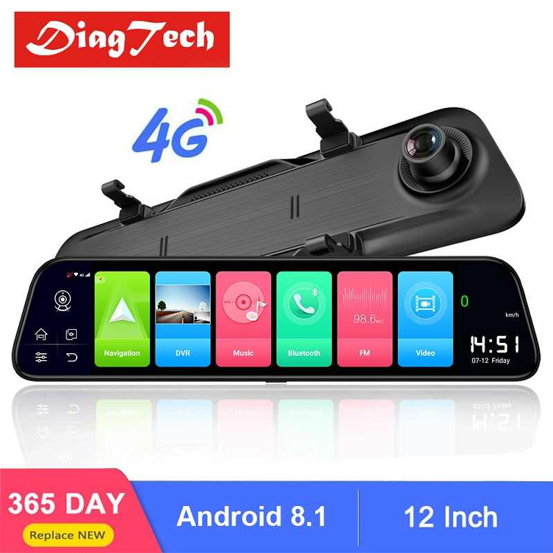 12 Inch Android 8.1 4G Mobil Kaca Spion GPS WiFi Mobil DVR Cermin Auto Mobil Perekam Video Cermin Belakang cermin Dash Kamera