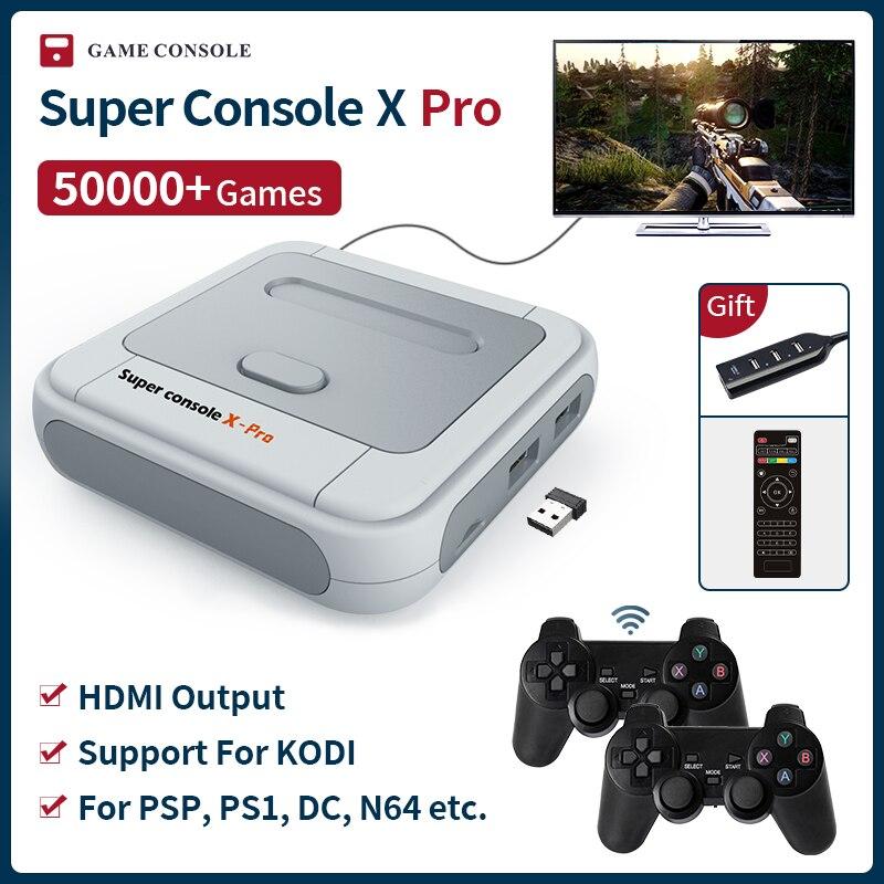 Super console x pro mini/tv consolas de jogos de vídeo wi-fi saída hdmi para jogos psp/n64/dc/ps1 para xbox gamepad embutido 50000 + jogos