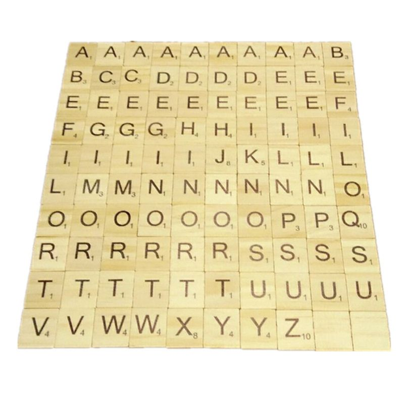 200 Pieces Scrabble Crossword Game Wooden Learning Letters Words Educational Gift Child DIY Scrabble Tiles