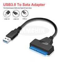 Sata usb cabo usb sata 3.0 adaptador suport 2.5 polegadas externo ssd hdd disco rígido 22 pinos sata iii cabo sata para usb 3.0 adaptador