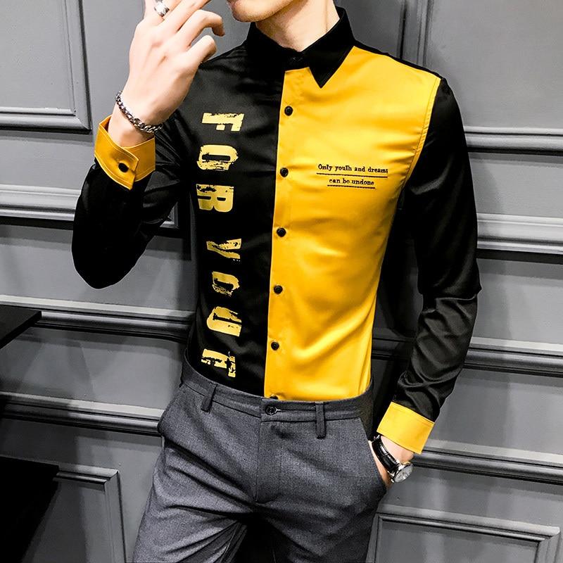 Fashion Print Men Shirts Long Sleeve Casual Slim Fit Patchwork Color Night Club Dress Formal Social Shirt Streetwear Male Top