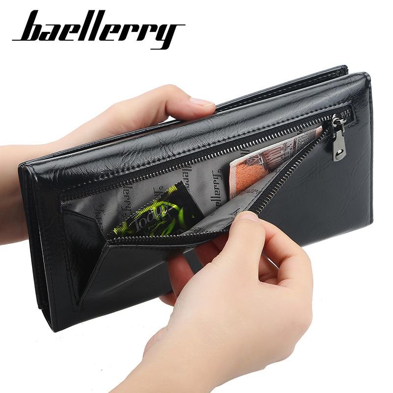 Baellerry Brand Men Wallets Men Long Purse PU Leather Clutch Wallet Business Wallet Coin Purses Thin Money Bag Card Holder