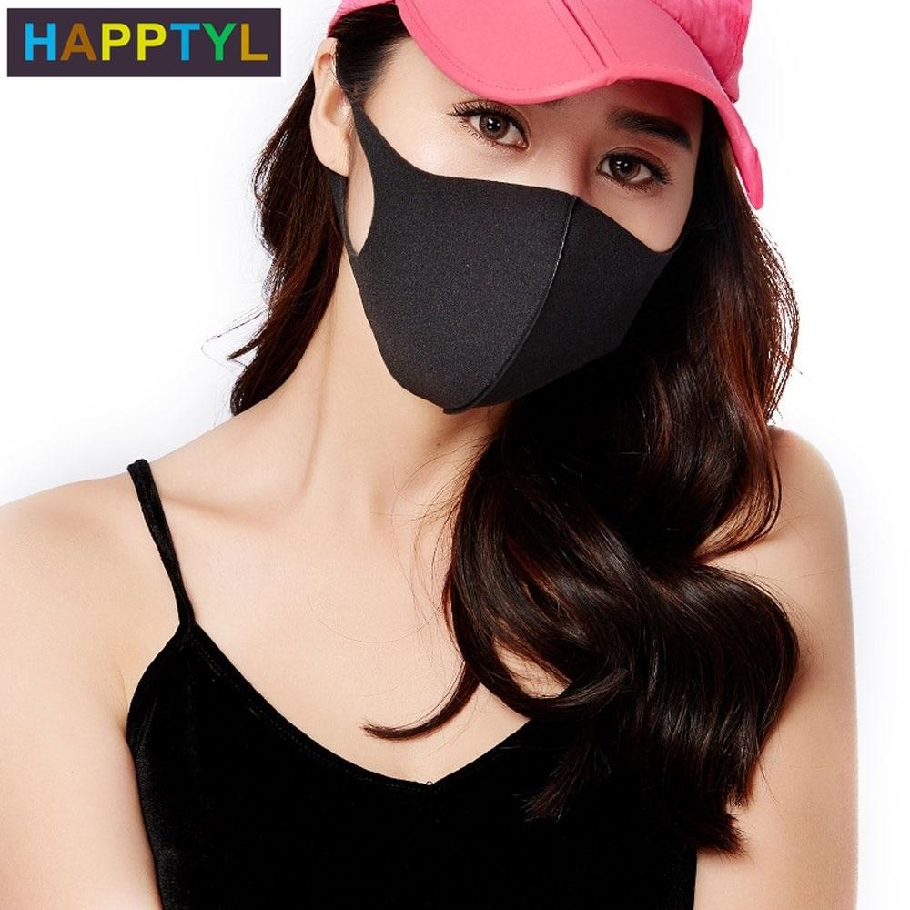 HAPPTYL 3Pcs/Set Unisex Anti-dust Solid Multi Colors Anti-allergy Sponge Earloop Face Mouth Mask Muffle