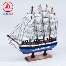 LUCKK 24CM Wooden Sailing Figurine Colorful Simulation Crafts Ornament Boat Model Room Desk Decor Nautical Handmade Top Gifts