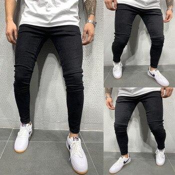 Stretch Skinny Jeans Men Brand New Hip Hop Mens Biker Denim Pants Trousers Casual Slim Fit Black Pencil Pants Plus Size S-3XL ligao men s jeans trendy leisure elastic slim pencil pants trousers male denim pant royal blue mens jeans vaqueros plus size