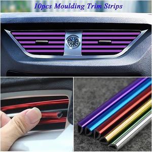 10Pcs 20cm Universal Car Air Conditioner Outlet Decorative U Shape Moulding Trim Strips Decor Car Styling Accessories