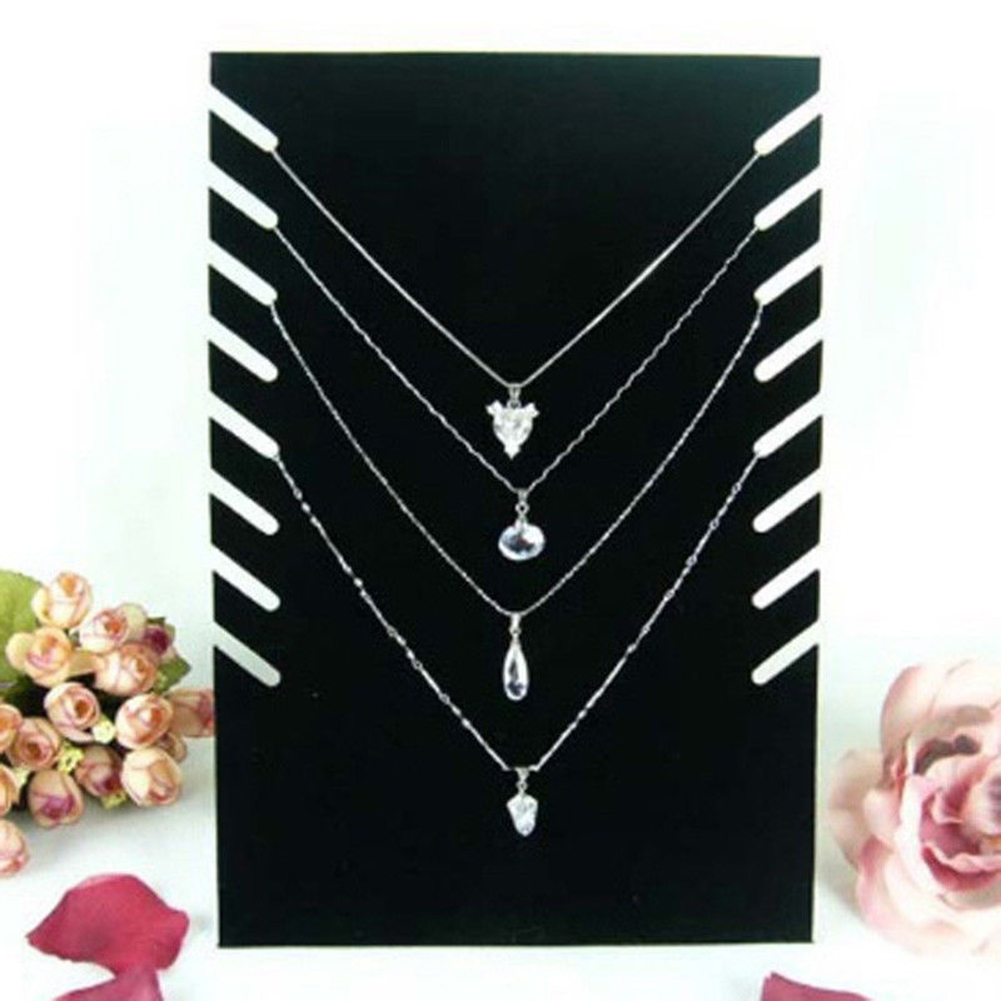 8 Hooks Jewelry Organizer Pendant Necklace/Chain Bracelet Display Holder Black Velvet Board Jewelry Stand Necklace Display Shelf