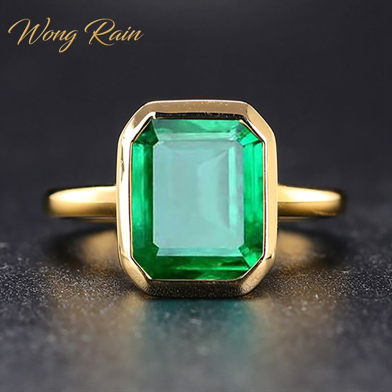 Wong Rain Vintage 100% 925 Sterling Silver Emerald Gemstone Wedding Engagement Cocktail Yellow Gold Ring Fine Jewelry Wholesale
