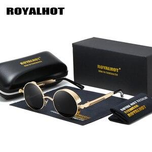 Image 1 - Мужские и женские солнцезащитные очки RoyalHot, круглые поляризационные очки в ретро оправе, затемненные очки для вождения, p1008