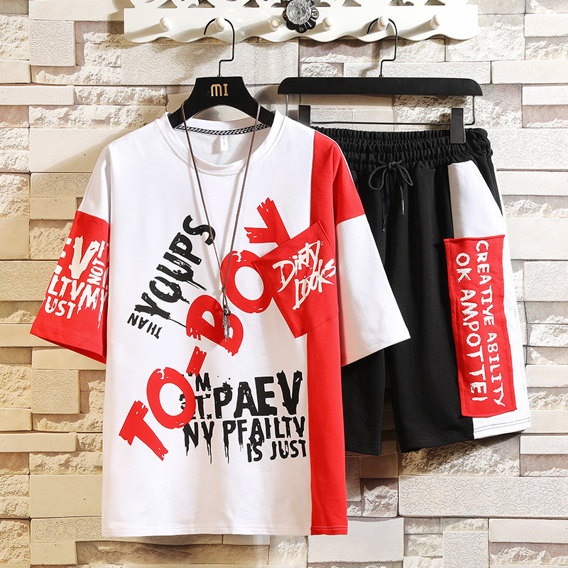 New Style Summer Short-sleeved Set Korean-style Trend Slim Fit Casual MEN'S T-shirt Two-Piece Set Teenager