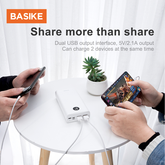 BASIKE Portable Power Bank 20000mAh Powerbank External Battery Phone Charger Spare Battery Mobile Phone Accessories Smartphones 5