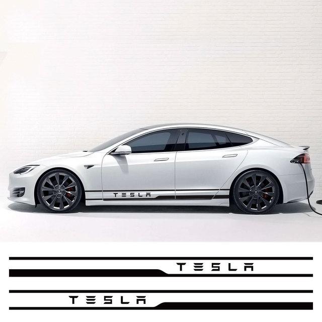 1Pair Car Styling Door Side Waist Skirt Stickers Decals Exterior Body Sticker Stripe Trim Decoration for Tesla Model 3 Mode X S 1
