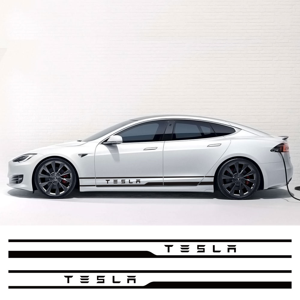 1Pair Car Styling Door Side Waist Skirt Stickers Decals Exterior Body Sticker Stripe Trim Decoration for Tesla Model 3 Mode X S