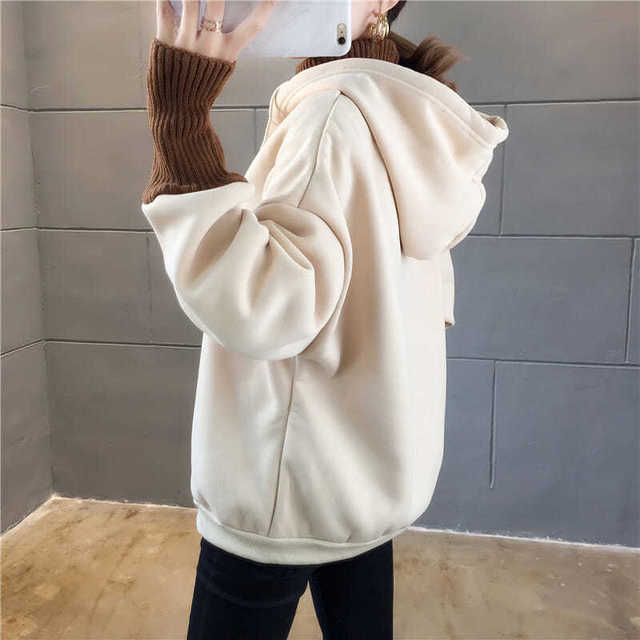Autumn and Winter New Korean Version of Women's Hooded High Collar Fake Two Fashionable Tops with Plush Thickening for Students 5