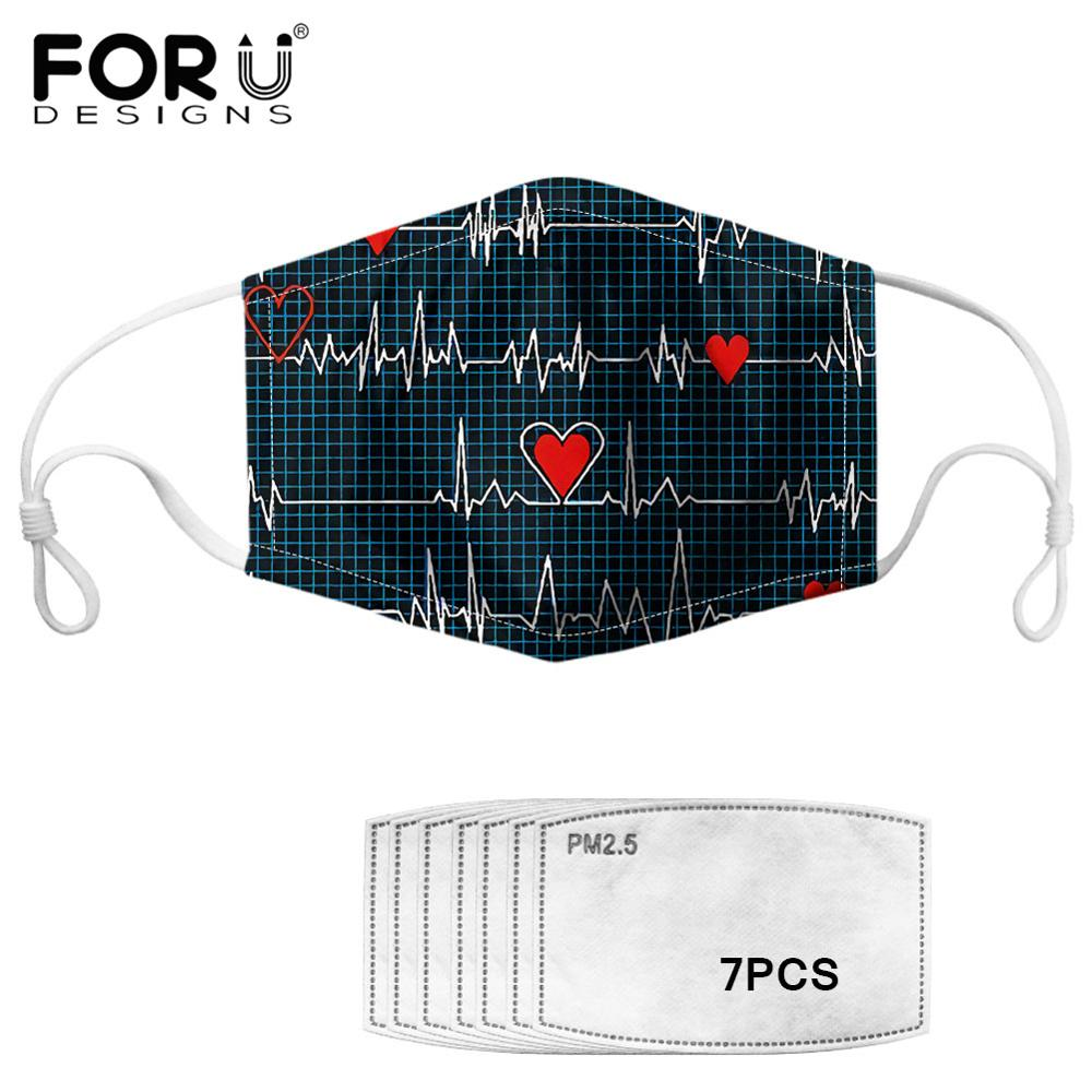 Heartbeat Print Face Mouth Mask With 7pcs PM2.5 Carbon Filter Black White Love Design Dustproof Face-muffle For Cycling Outdoor