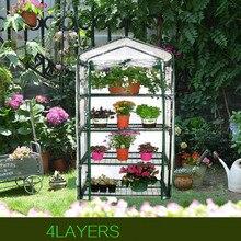Мини-теплица, 155x69x49 см, четырехэтажная зеленая домашняя теплица для сада, теплое помещение из ПВХ для сада, теплое помещение