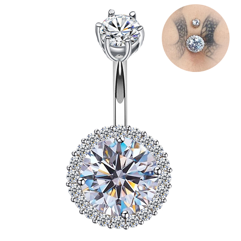 925 Sterling Silver Belly Ring Cubic Zircon Belly Bar  Navel Piercings Jewelry