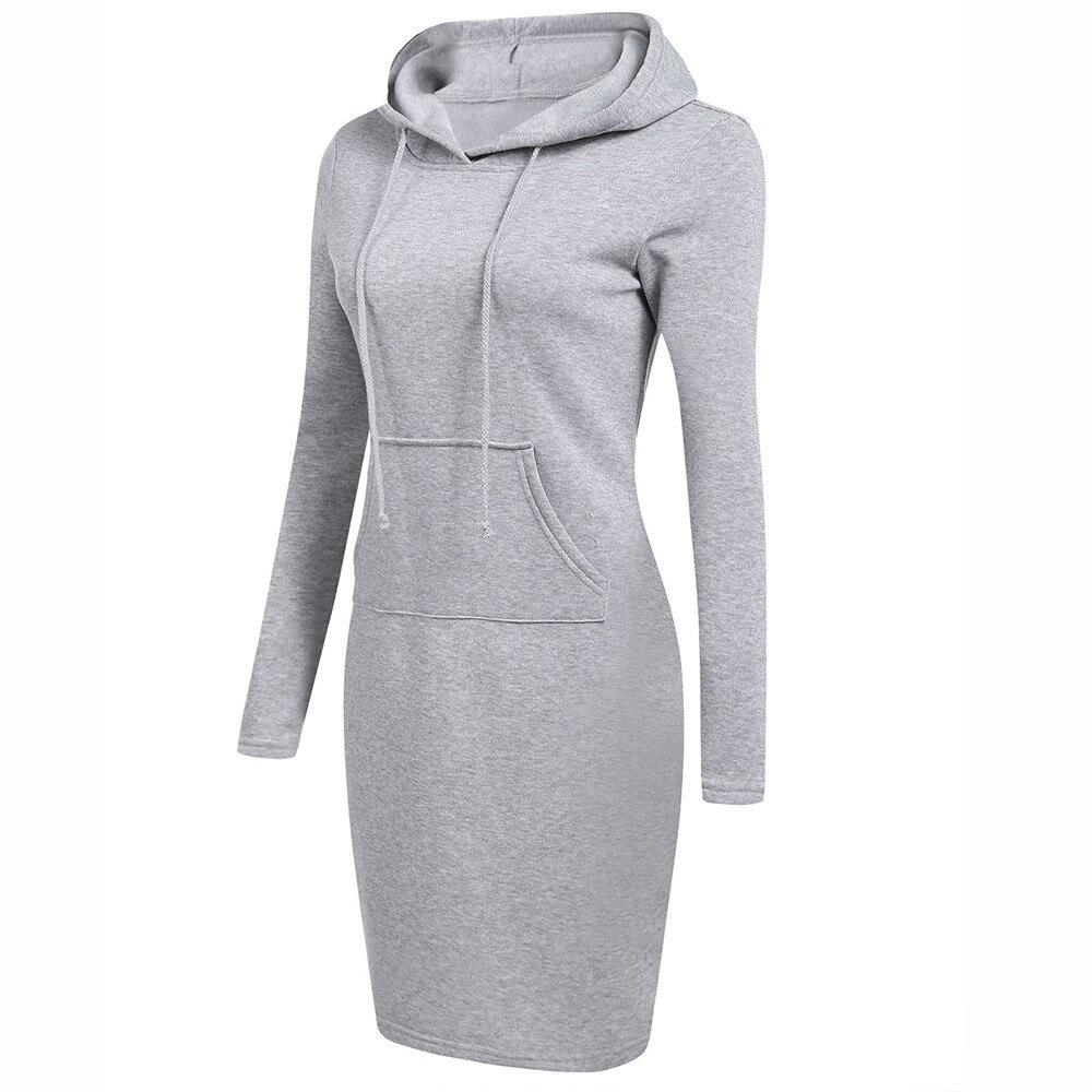 Women Winter Hoodies Dresses Long Sleeve Solid Patchwork O Neck Casual Long Hooded Sweatshirts Dress Plus