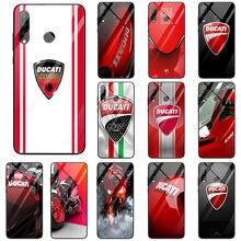 Ducati corse logotipo coque escudo vidro temperado capinhas do telefone móvel para huawei honor 6x 8 8a 9 10 p20 p30 mate 20 y6 y9 lite pro