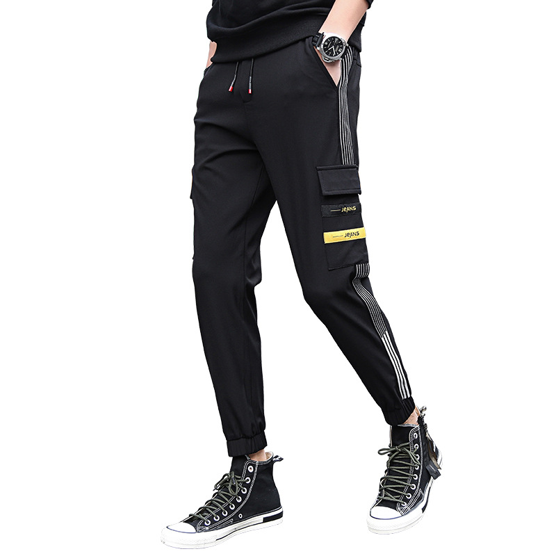 Mens Hip Hop Cargo Pants Baggy Pockets Ribbon Joggers Pants Color Patchwork Casual Fashion Tactical Trousers Tide Harajuku in Cargo Pants from Men 39 s Clothing