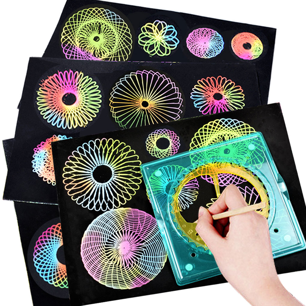DIY Spirograph Drawing Templates Toy Set Geometric Curve Ruler Stencil Children Painting Learn Educational Toys
