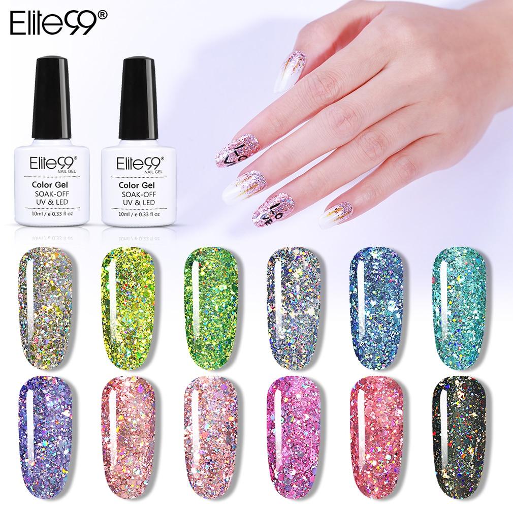 Elite99 10ml Glitter Star UV Gel Polish Soak Off Sequins Bling Gel Nail Polish Semi Permanent Nail Art Enamel Lacquer GelLak